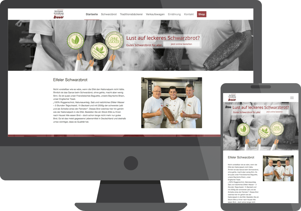 Monitor Webdesign Referenz Bäckerei Breuer