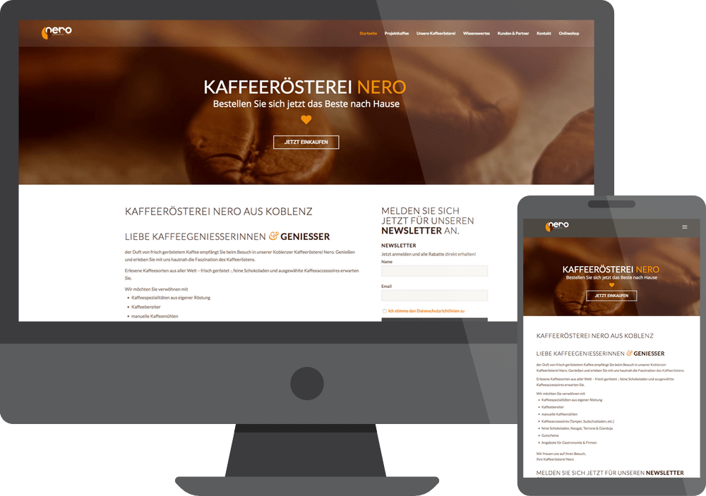 Referenz Webdesign Nero Kaffeerösterei Koblenz