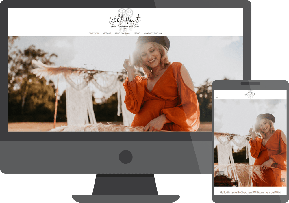 Webdesign Referenz Wild Hearts Weddings