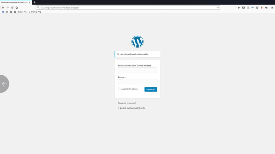 wordpress anmeldebereich